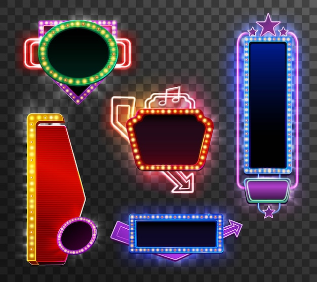 Retro light banner set Free Vector