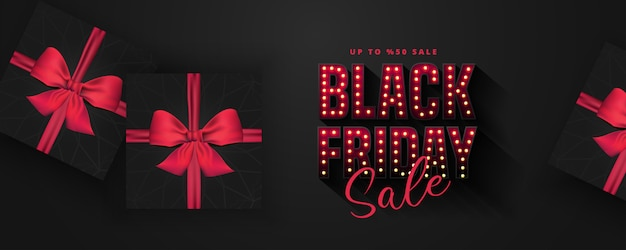 Retro light bulbs sign black friday sale banner layout  template. banner and advertising poster . illustration.realistic black gift box. illustration Premium Vector