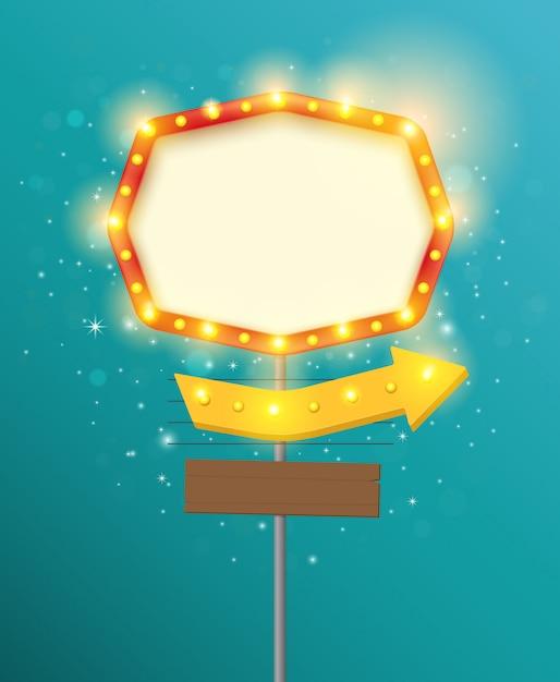 Download Premium Vector | Retro light sign frame, vintage banner ...