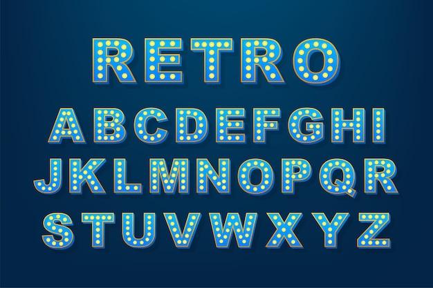 모든 목적에 적합한 레트로 라이트 텍스트. 레트로 전구 알파벳입니다. 재고 일러스트입니다. 프리미엄 벡터