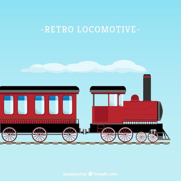 Retro locomotive Free Vector