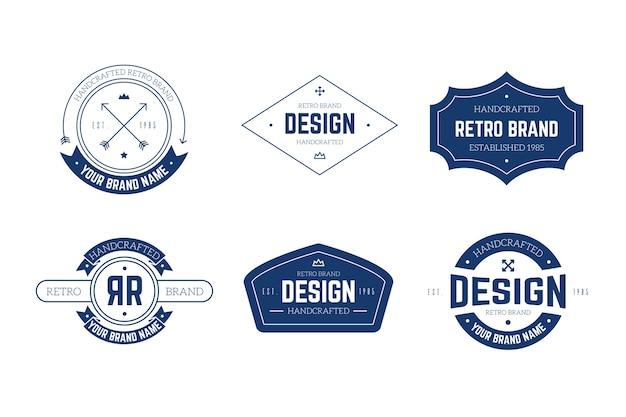レトロなロゴコレクションテンプレートコンセプト 無料ベクター