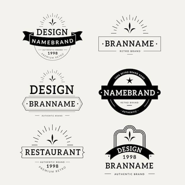 Retro logo collection template Free Vector