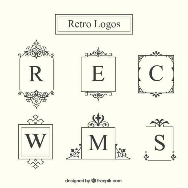 retro logo frame collection premium vector