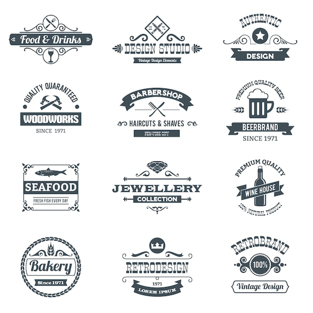Retro Logo Set Free Vector