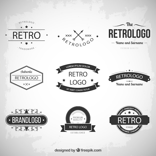 retro logos collection vector free download
