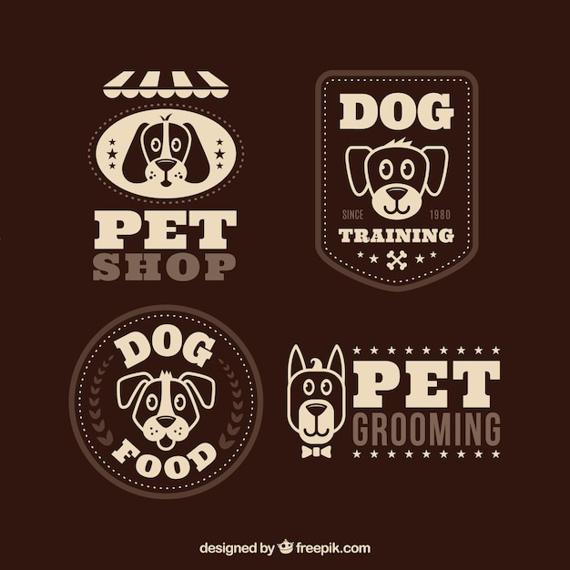 Retro logos with cute dogs