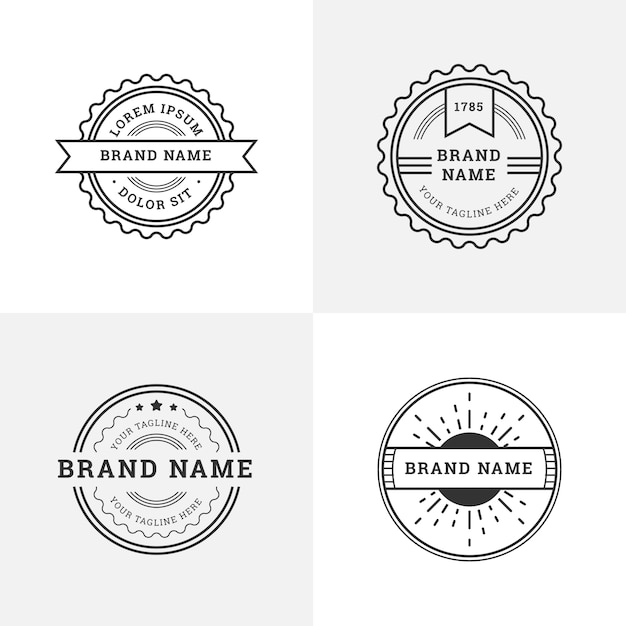 Retro logos with round shapes Free Vector