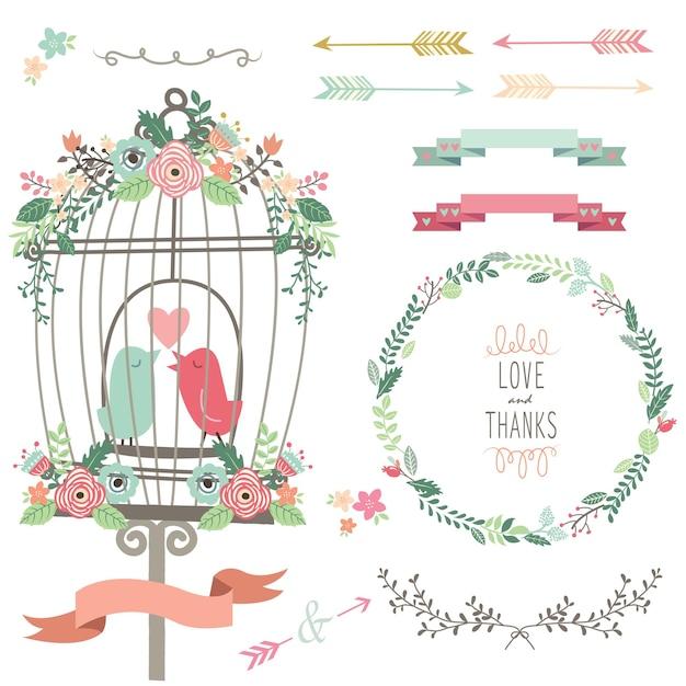 Ретро любовь птичья клетка и свадебные цветы Premium векторы