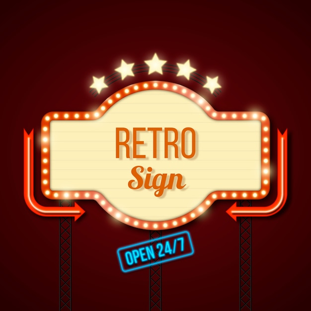 Retro luminous poster in flat style Free Vector