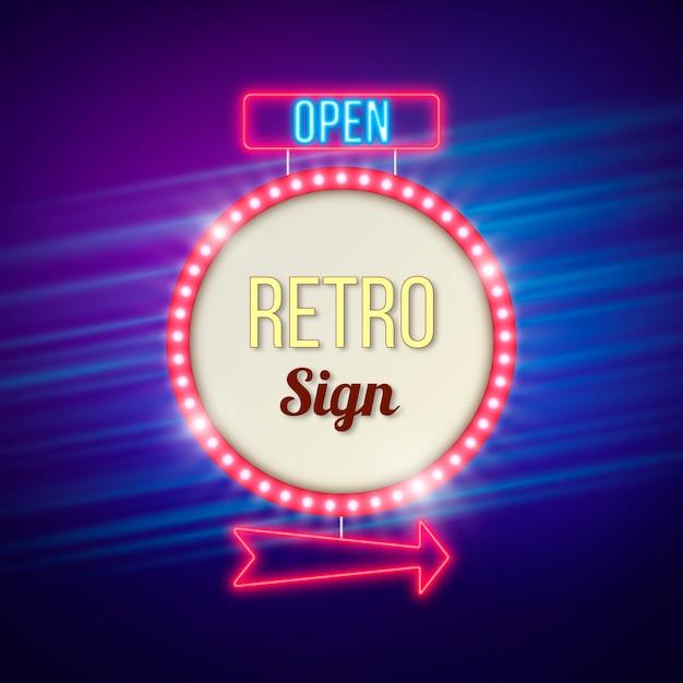 Retro luminous sign in flat style Free Vector