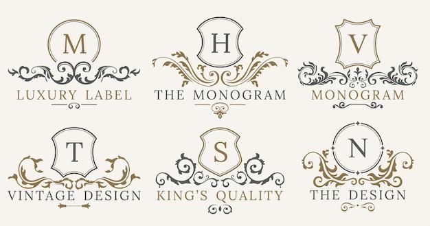 Retro luxury royal vintage shields logotype set Premium Vector
