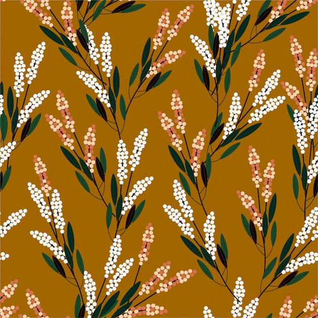Retro meadow flowers seamless pattern in small scale modern style design for fashion, fabric, prints, wallpaper, and all prints Premium Vector