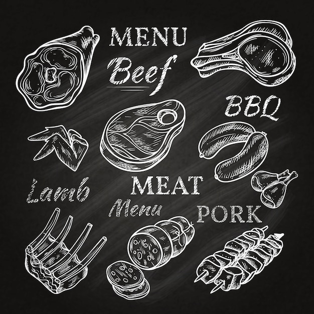 Retro meat menu drawings on chalkboard with lamb chops sausage wieners pork ham skewers gastronomic products isolated vector illustration Free Vector