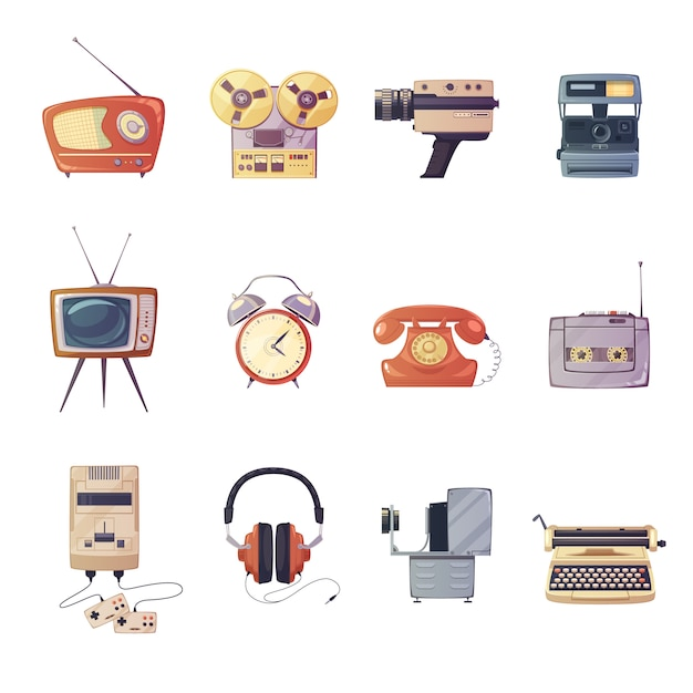 Retro media gadgets cartoon set of colorful entertainment technologic devices isolated vector illust Free Vector