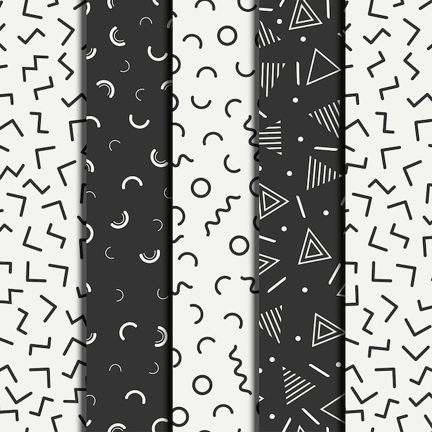 Retro memphis geometric line shapes seamless patterns set Premium Vector