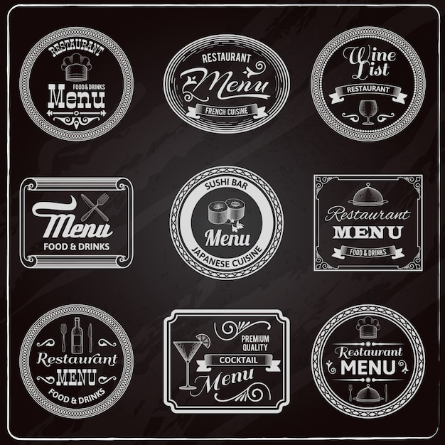 Retro menu labels chalkboard Free Vector