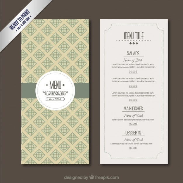 Retro menu template vector free download for Cafe menu design template free download