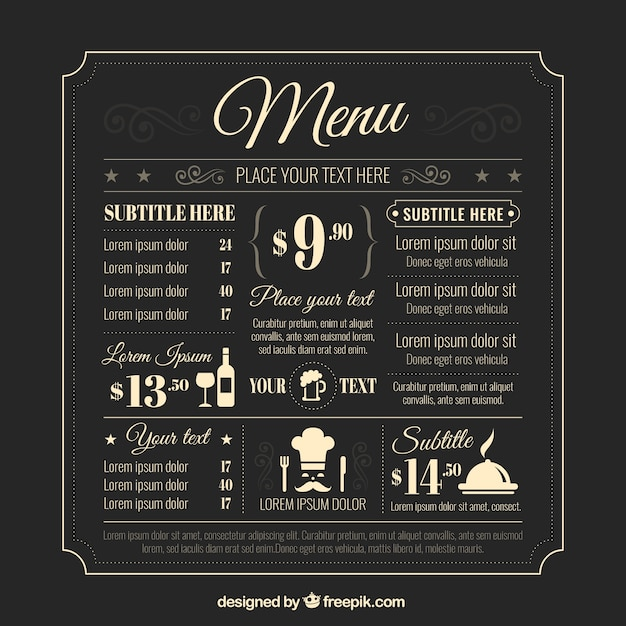 Retro menu template vector premium download for Wedding drink menu template free