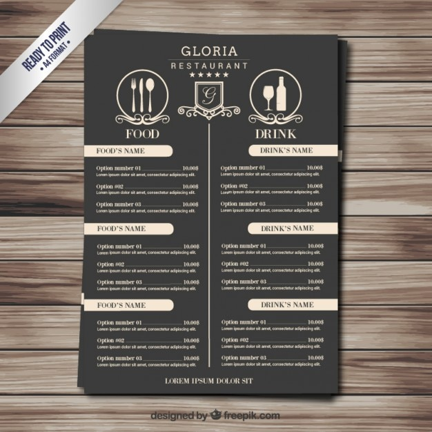 retro menu vector free download