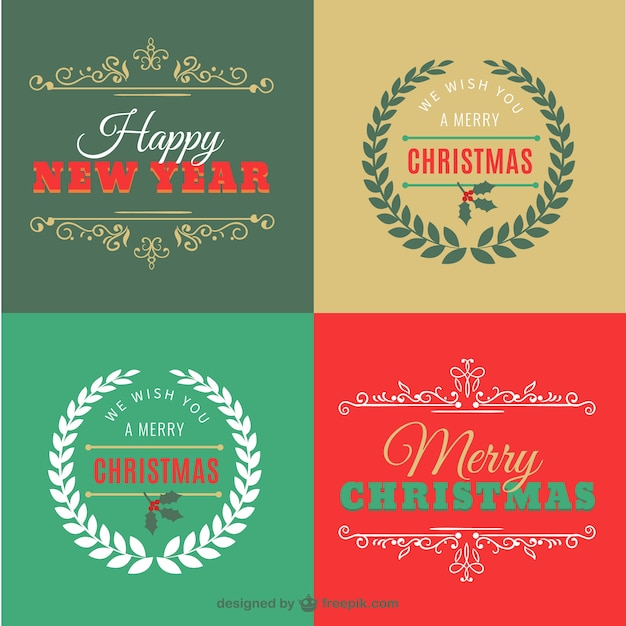 Retro Merry Christmas Cards Premium Vector