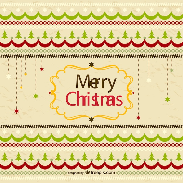 Retro merry Christmas greeting card Vector  Free Download