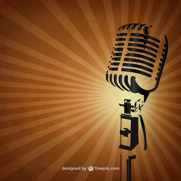 retro microphone background vector free download. Black Bedroom Furniture Sets. Home Design Ideas