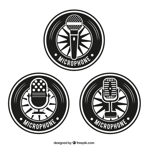 retro microphone badges vector free download