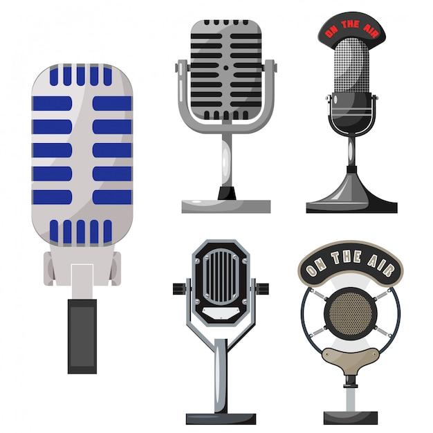 Retro microphone collection Premium Vector