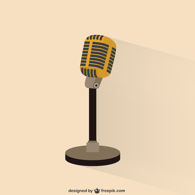 Retro microphone illustration Premium Vector