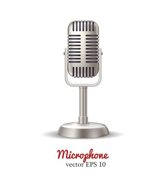 Retro microphone, karaoke radio broadcast Premium Vector