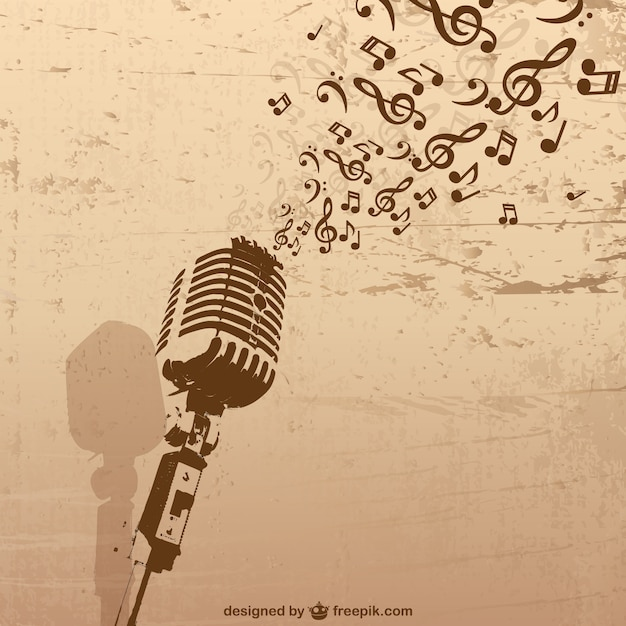 Retro microphone with grunge music concept Free Vector