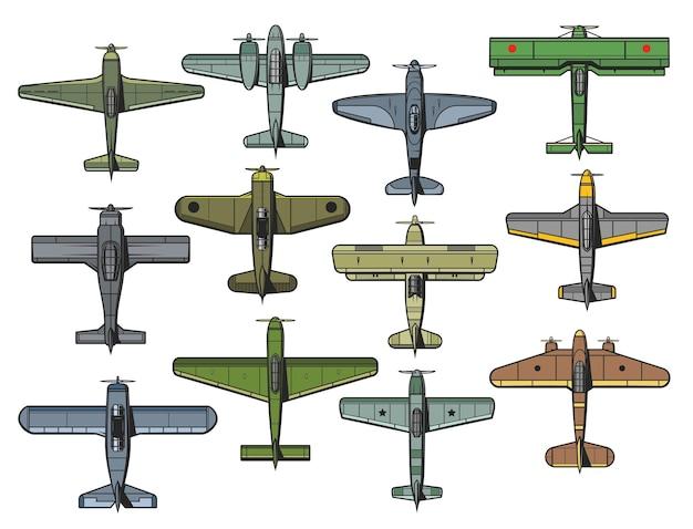 Набор ретро военных и гражданских самолетов. старинный истребитель, бомбардировщик и транспортный самолет ввс. Premium векторы