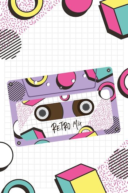 Ретро микс кассетный дизайн, музыкальная винтажная лента и аудио тема векторные иллюстрации Premium векторы