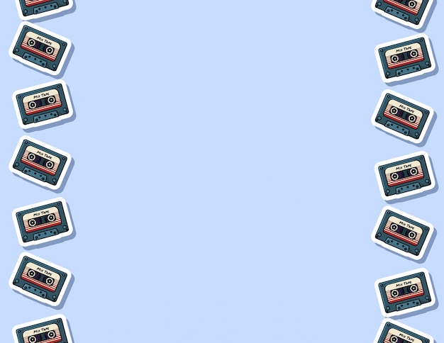 Retro mix tape seamless pattern Premium Vector