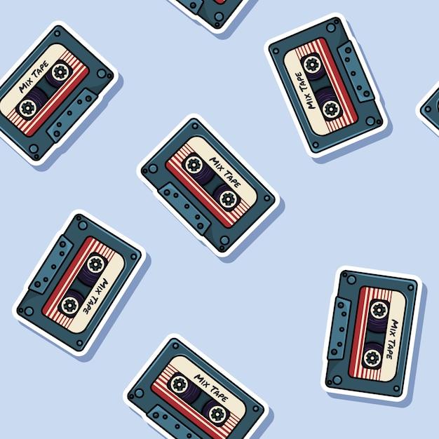 Retro mix tape stickers seamless pattern. Premium Vector