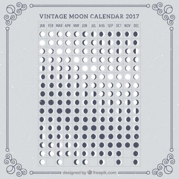 retro moon calendar 2017 vector free download. Black Bedroom Furniture Sets. Home Design Ideas