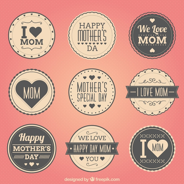 Retro mothers day badges Free Vector