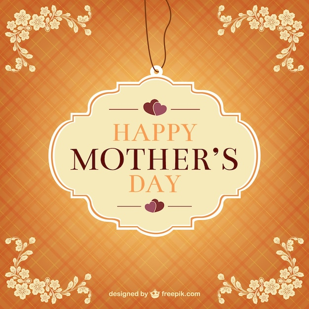 Retro mothers day label Free Vector