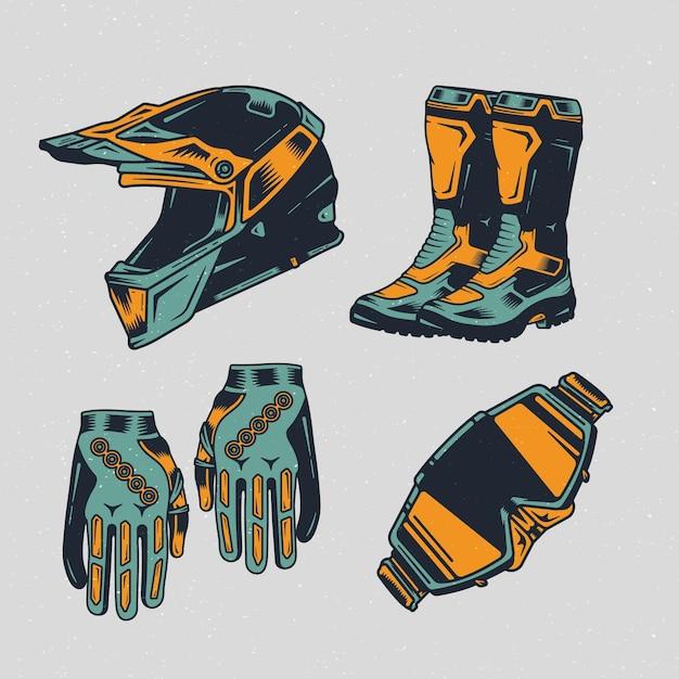 Retro motocross elements Free Vector