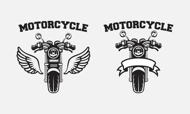 레트로 오토바이 배지 로고 디자인 프리미엄 벡터