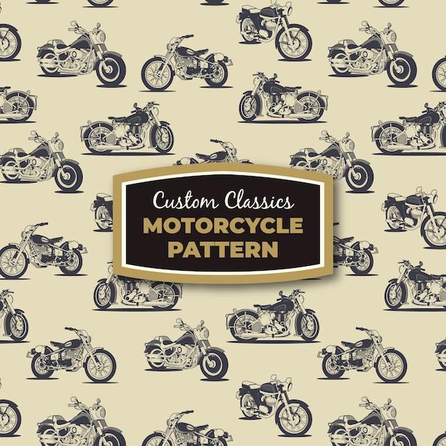Retro motorcycles vector drawings seamless pattern Premium Vector