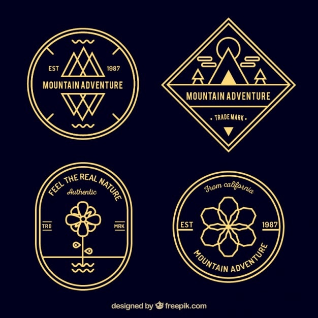Retro mountain adventure badges