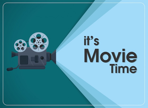 Retro move film projector with text it's movie time. Premium Vector