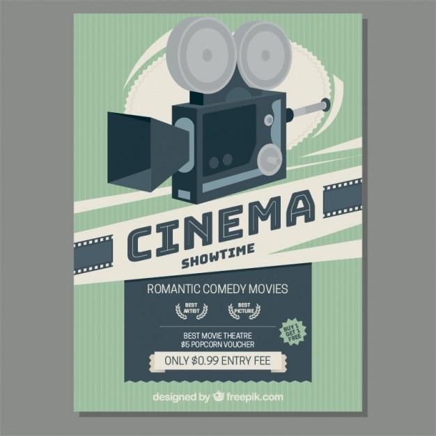 Retro movie camera poster Free Vector