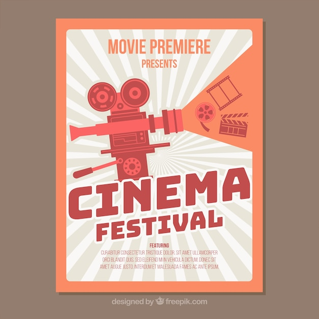 film festival brochure template - retro movie festival poster vector free download