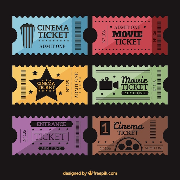 Retro movie tickets set Free Vector