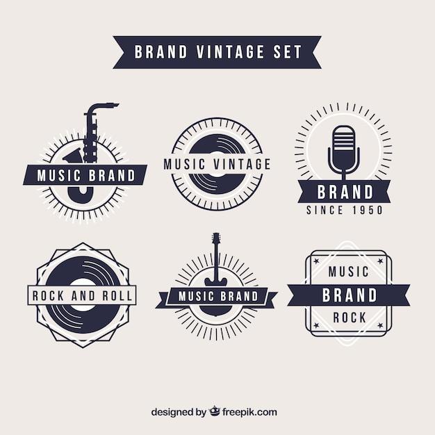 Retro music brand logos Premium Vector