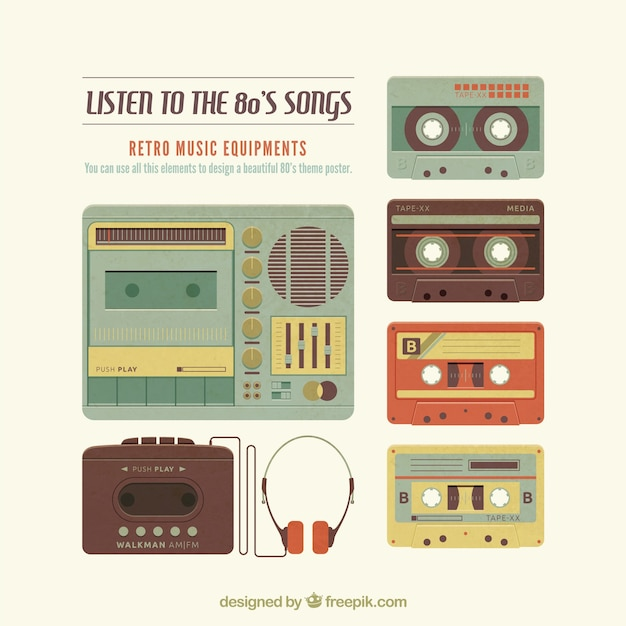 Retro music elements Vector | Free Download