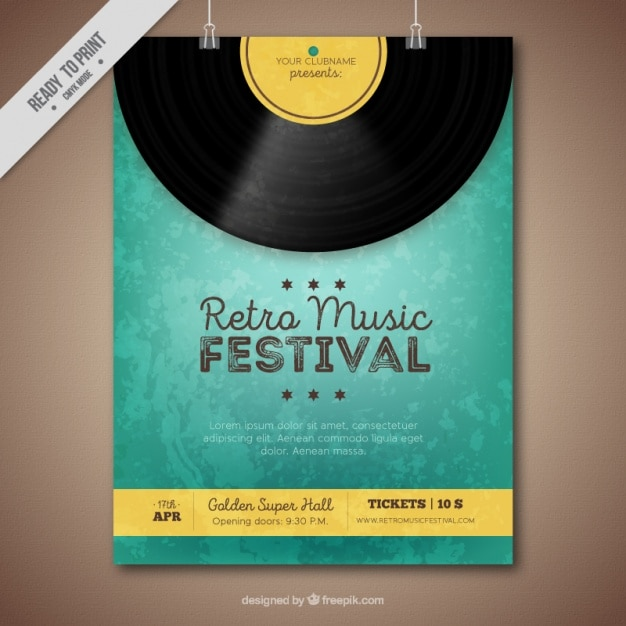 Retro music festival brochure with vinyl and yellow details Free Vector